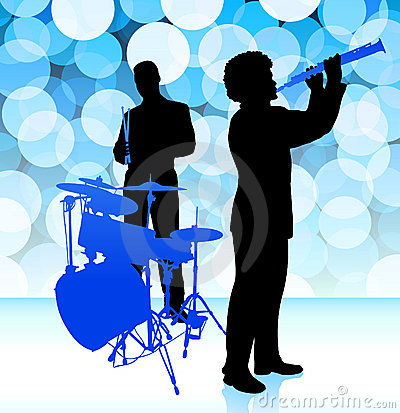 Musical Band on Lens Flare Background