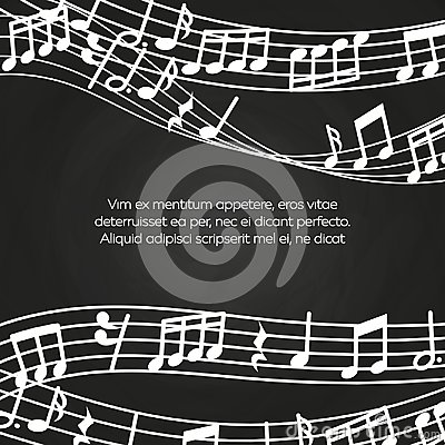 Musical blackboard background design - chalkboard with music notes and waves Vector Illustration