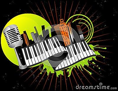 Musical city vector
