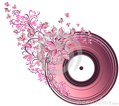 Musical disk with butterflies
