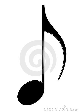 Musical eighth note isolated on white