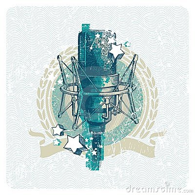 Musical emblem with studio condenser microphone
