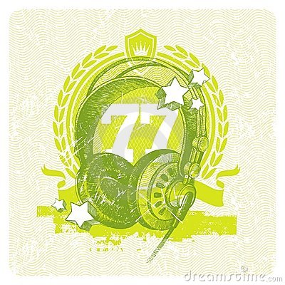 Musical emblem with studio headphones