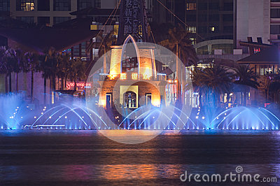 Musical Fountain at night in China Editorial Stock Photo