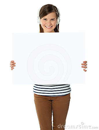 Musical girl promoting blank banner ad