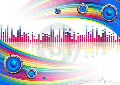 Musical ial background with a rainbow
