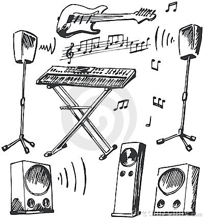 Free Musical Instruments And Loudspeakers Doodles Royalty Free Stock Photos - 7633208