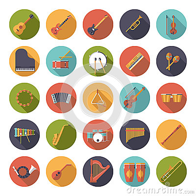 Free Musical Instruments Circular Flat Design Vector Icons Collection Royalty Free Stock Image - 55129666