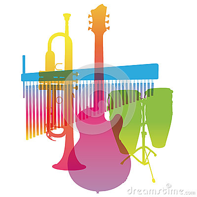 Musical Instruments. Colored Pop Art. Vector