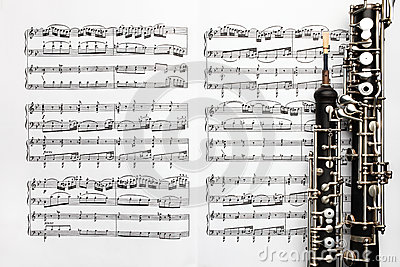 Musical instruments music sheet notes oboe Stock Photo