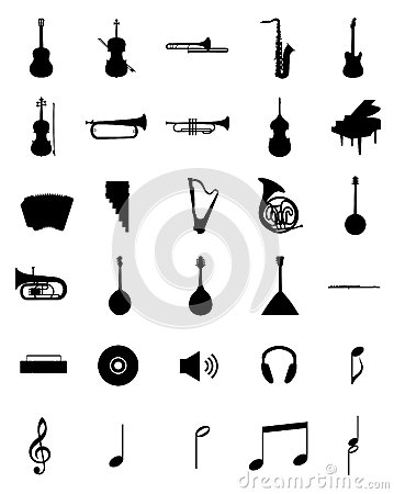 Free Musical Instruments Siluets Set Royalty Free Stock Photos - 35728388