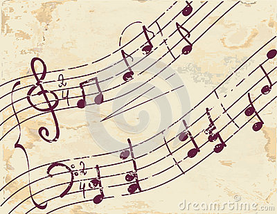Musical note background on the paper