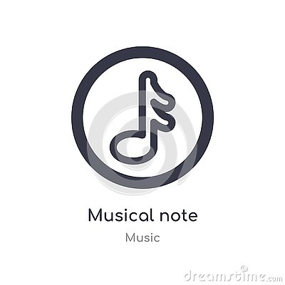 musical note outline icon. isolated line vector illustration from music collection. editable thin stroke musical note icon on Vector Illustration