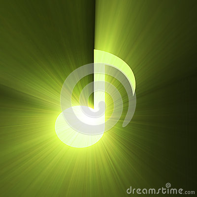 Musical note symbol shine light flare
