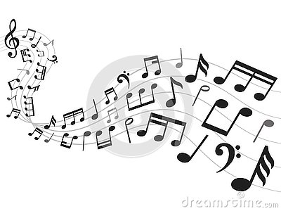 Musical notes background. Music notation sheet, sound melody and note symbols vector illustration Vector Illustration