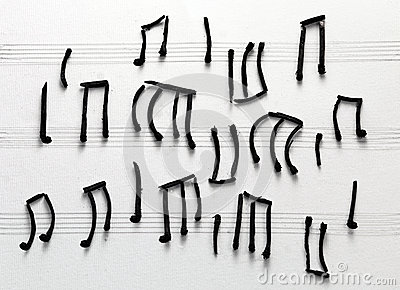 Musical notes burned matches
