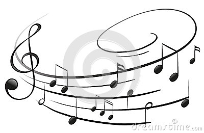 The musical notes with the G-clef Vector Illustration