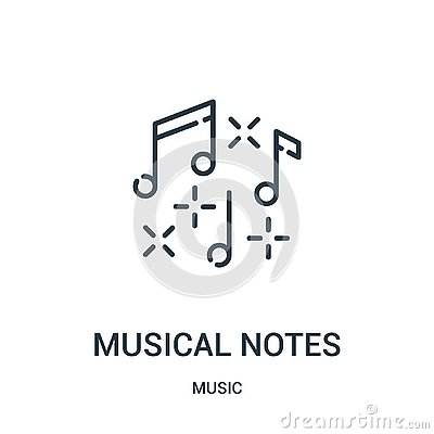 musical notes icon vector from music collection. Thin line musical notes outline icon vector illustration Vector Illustration