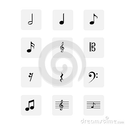 Free Musical Notes Icons Set Stock Images - 74800974