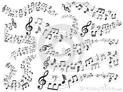 Musical notes. Music note swirl, melody pattern and sound waves with notes vector illustration set Vector Illustration