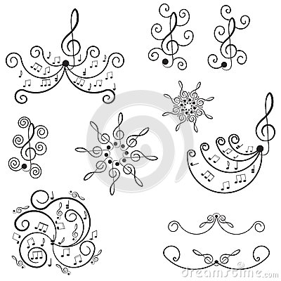 Free Musical Notes. Ornament With Swirls. Stock Images - 27296954