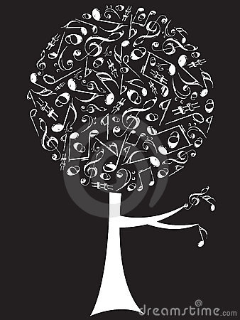 Musical notes pop tree white