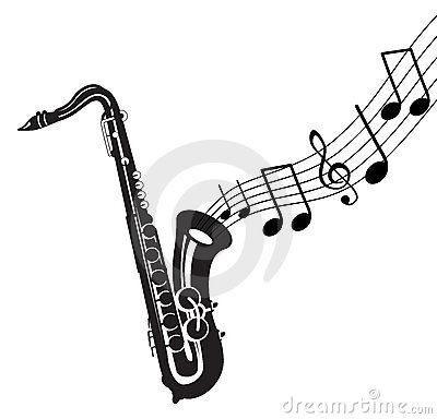 Musical notes with saxophone