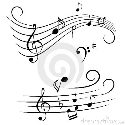 Musical notes on stave
