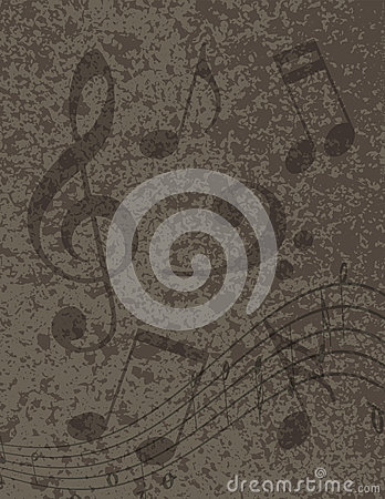 Musical Notes on Textured Background Illustration