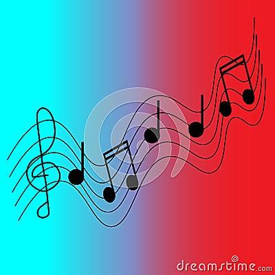 Musical pentagram Vector Illustration
