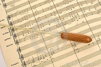 Musical Score with Conductor s Baton