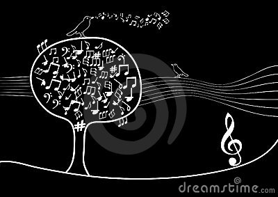 Musical tree with notes inside and bird