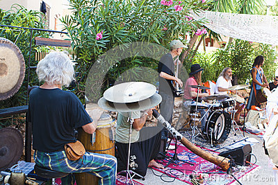 Musicband at Punta Arabi Hippie Market Editorial Image