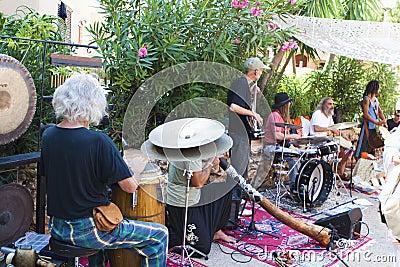 Musicband at Punta Arabi Hippie Market Editorial Image