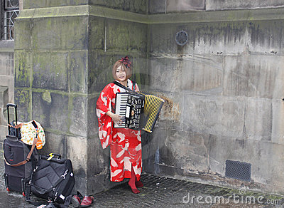 Musician at Edinburgh Fringe Festival Editorial Stock Photo