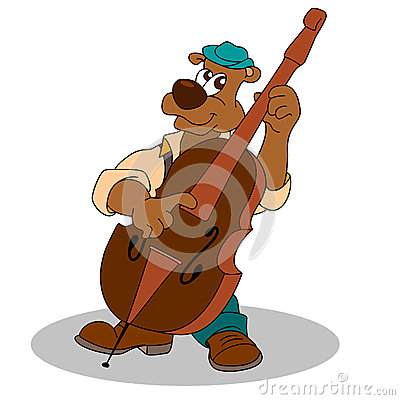 Free Musician Funny Bear Plays Double Bass Stock Photos - 63027383