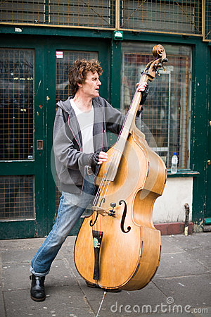 Musician plays contrabass Editorial Photography