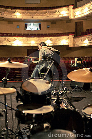 Musician rehearsing on stage Editorial Photography