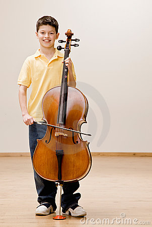 Musician Standing With Cello Royalty Free Stock ...