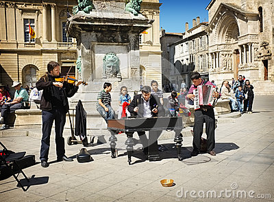 Musician Street Performers, Arles France Editorial Stock Image
