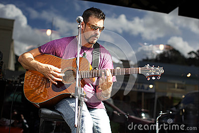 Musician in Thames, NZ. Editorial Image