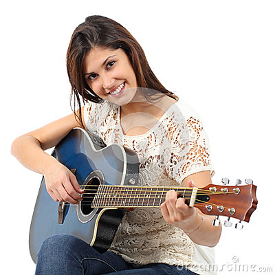 Free Musician Woman Playing Guitar In A Course Stock Image - 53241701