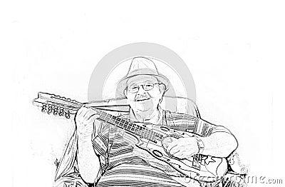 Musician Yomo Toro drawing