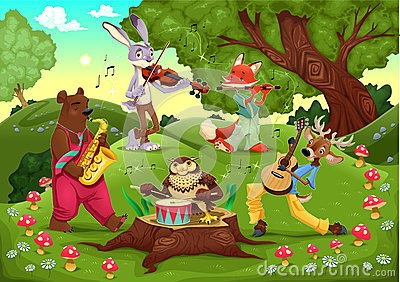 Musicians animals in the wood.