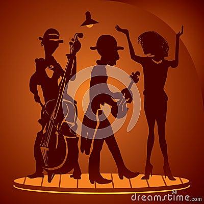 Musicians on a cabaret scene