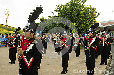 Musicians in Monarchist Rally, Thailand Editorial Stock Photo