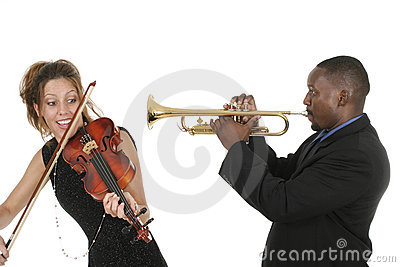 Musicians Play Violin Trumpet