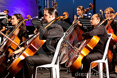 Musicians playing contrabass Editorial Stock Photo
