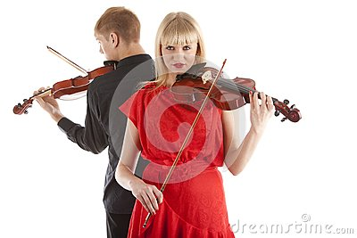 Musicians playing violins