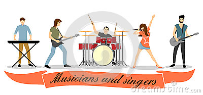 Musicians and singers vector set. Rock band Vector Illustration